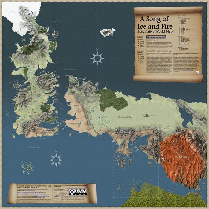 Detailní interaktivní mapa Hra o trůny
