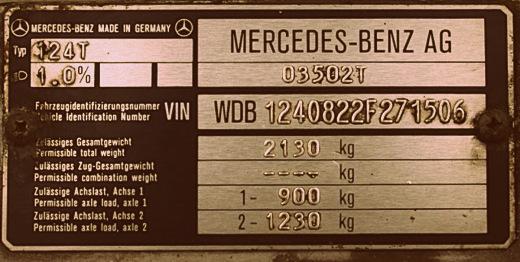 VIN kód Mercedesu